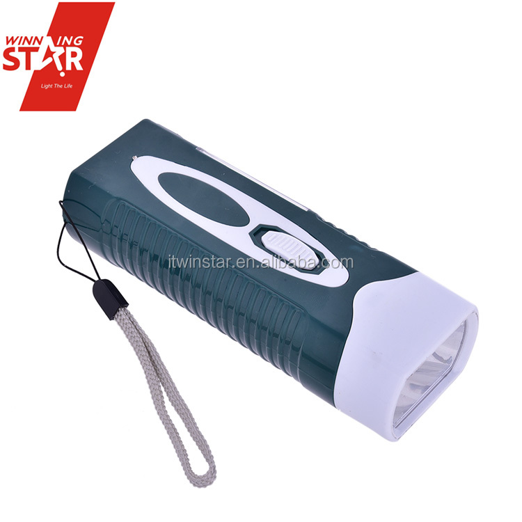 Square Portable Solar Charging 6+1 LED Flashlight with String in Mix Color