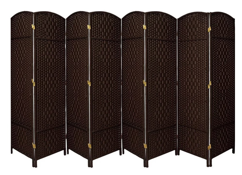 Extra Wide-Diamond Weave Fiber Room Divider, 8 panel room divider/screen,room dividers and folding privacy screens 8 panel&Room dividers and folding privacy screens-DarkMocha 8 Panels