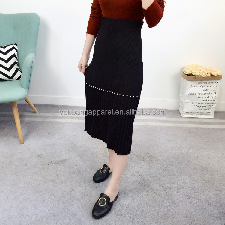 spring autumn latest women casual pleated half pencil skirts ladies fashion knitted winter maxi long dress pearls