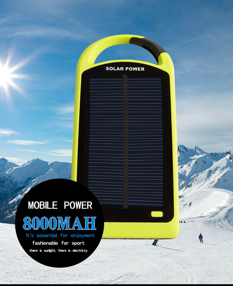 Shenzhen outdoor smart mobile long lasting high capacity portable 8000 mAH mobile battery solar rohs power bank charger