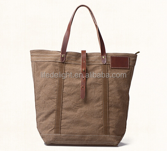 Customized high quality Vintage Work Travel big canvas tote BriefCase Bag with leather handle