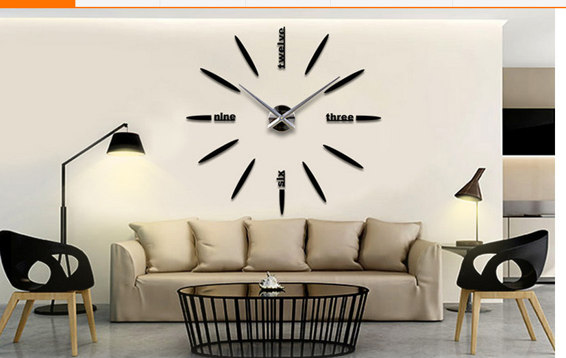 Fashion DIY Large Wall Clock 3D Sticker Metal Big Watches Home Decor Wall  Decal Clock Part 96
