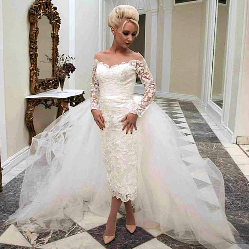 Removable Wedding Gown Dress: Hot Sale Detachable Arabia Bridal Gowns Long Sleeve Mid