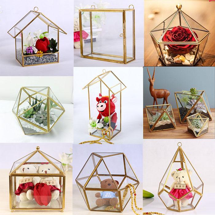 Icosahedron 20 Triangular Faces Glass Terrarium For Indoor