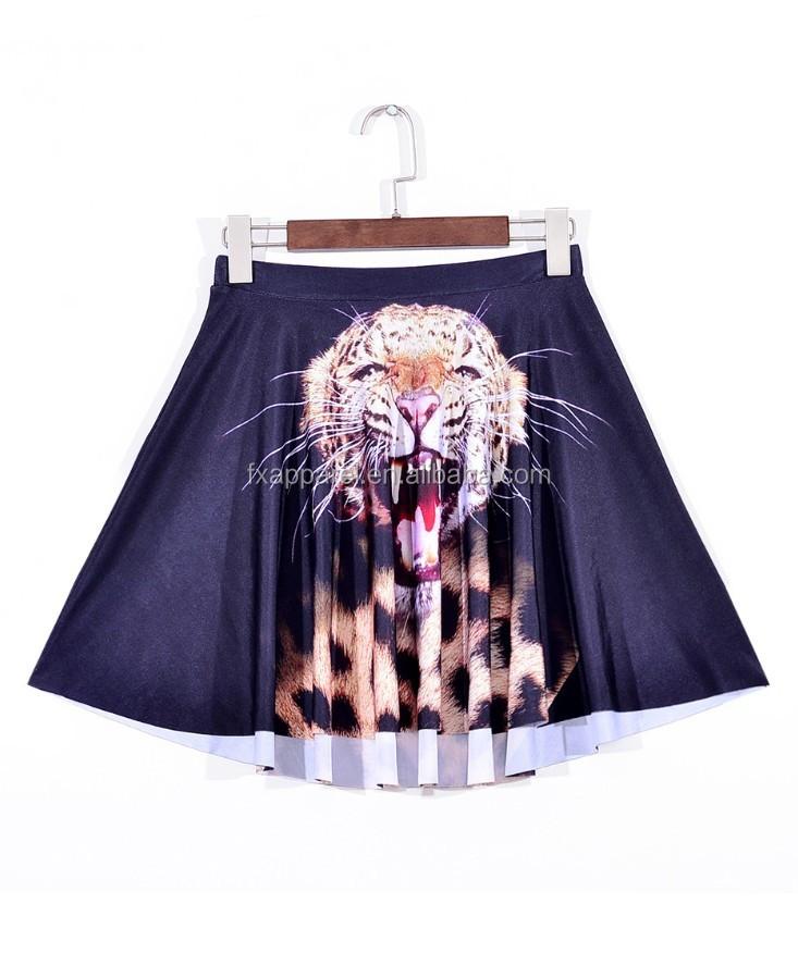 7c4e96cdc8 3D Digital Printed Leopard Head pleated skirt Plus size S-4XL mini short  dress SK55078
