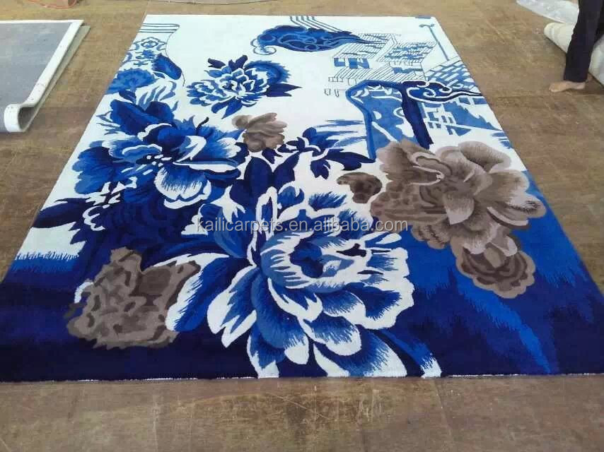 flower pattern design washable hand carved area rug QL-1