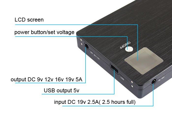 laptop power bank for notebook 20000mah external backup charger 9v 12v 16v 19v