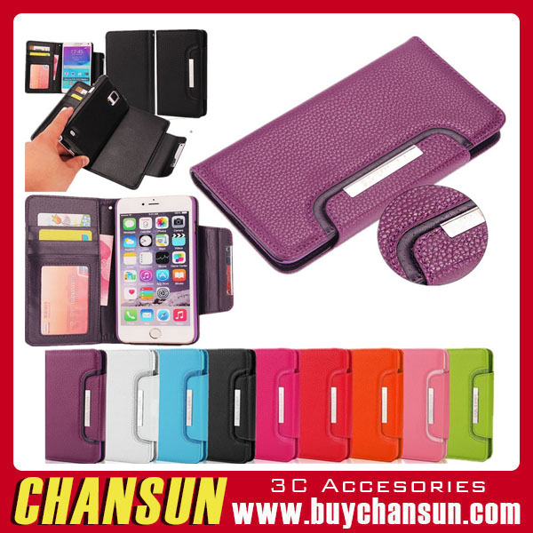Leather Wallet Cover with Magnetic Detachable Hard Case For Samsung Galaxy Note 4