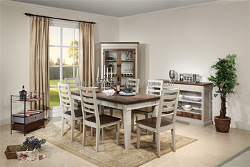 European Style Reproduction Dining Table Set Birch Elm China Factory Outlet Knock Down Furniture