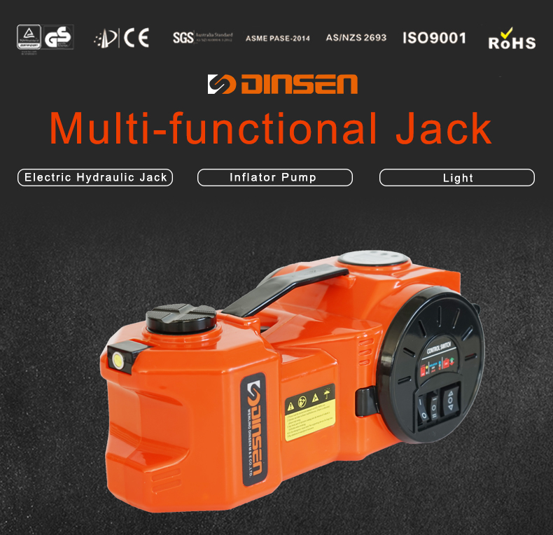 Customized portable 12 volt electric car jack set with inflator pump