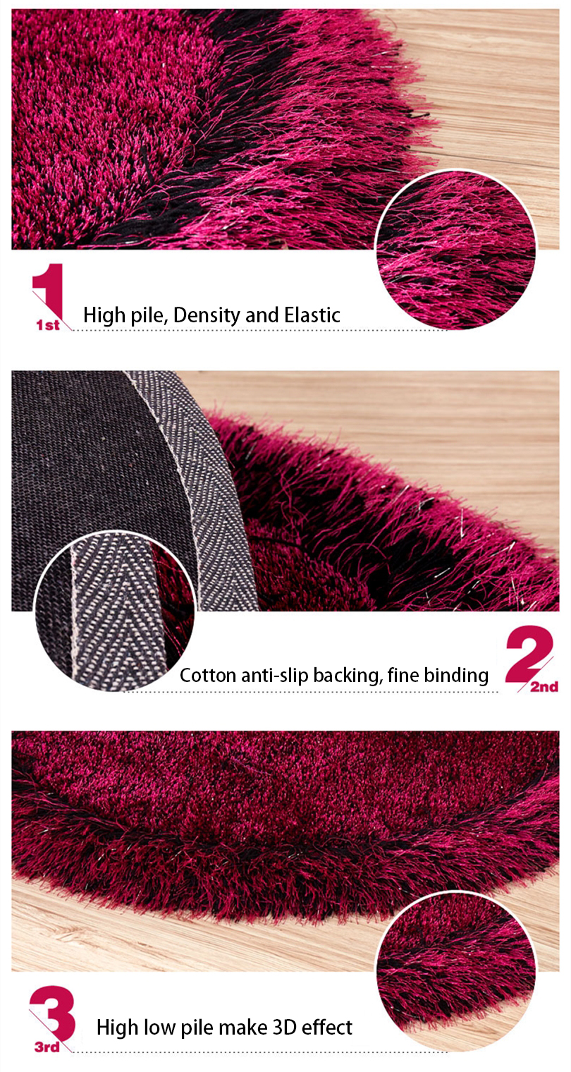 Polyester rose black elliptical heavy duty shaggy carpet