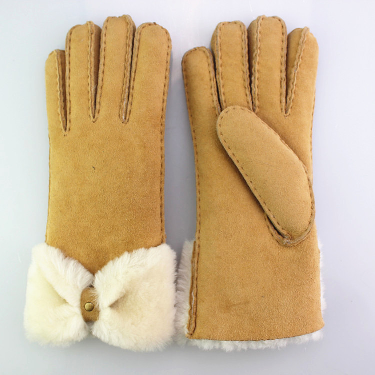Women soft fashion double face leather gloves