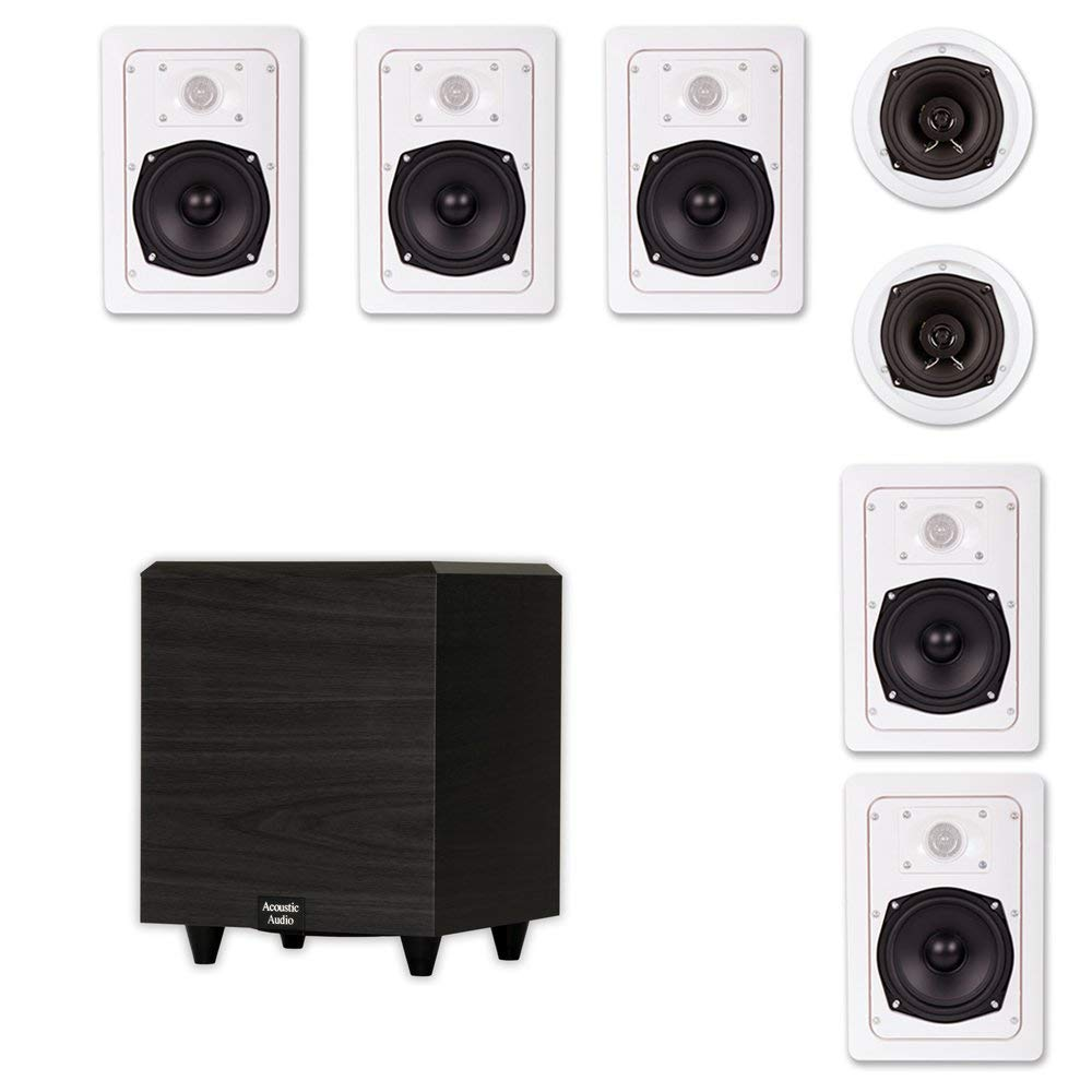 "Acoustic Audio HT-57 In-Wall/Ceiling 7.1 Home Theater Speakers and 6.5"" Powered Sub HT-57-PS6"