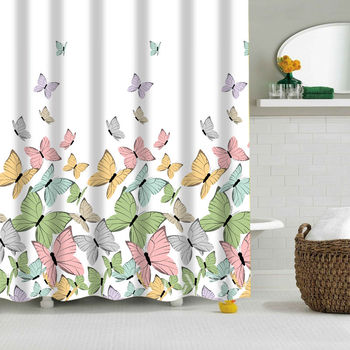 DESIGNER CUSTOM DESIGN BUTTERFLY DIGITAL PRINTING SHOWER CURTAIN