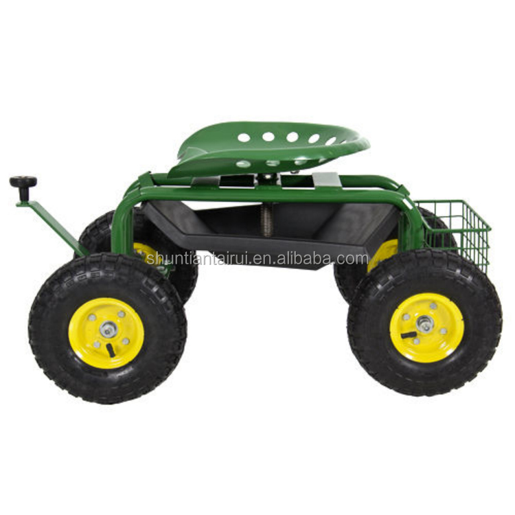 Garden Seat With Wheels ,Deluxe Tractor Scoot With Bucket Basket