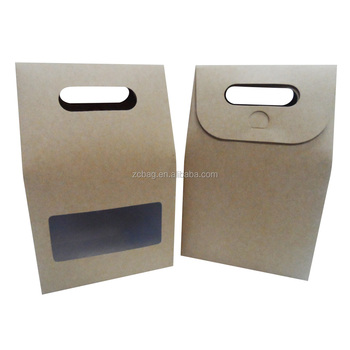 Plain Brown Kraft Paper Gift Bags With Handles And Rectangle Window For Wring Pouch Bag Clear Flat Handle