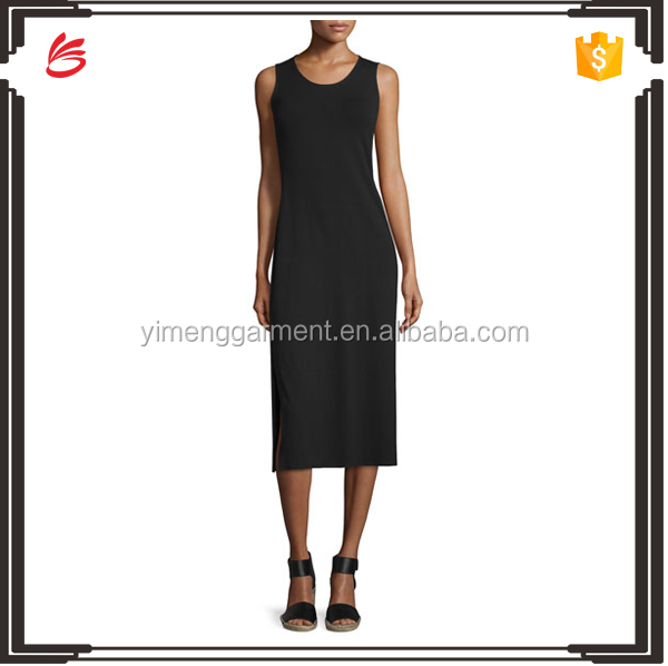 Fashion plain black simple long summer dresses lycra evening dresses