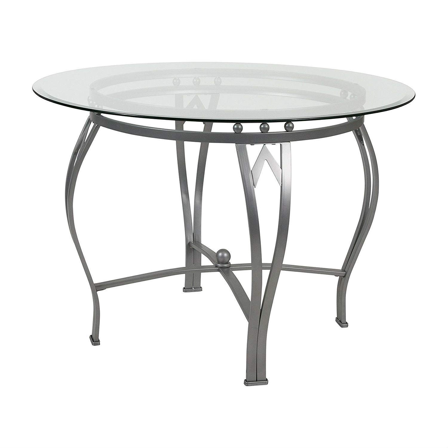 BeUniqueToday Round 42-inch Clear Tempered Glass Dining Table with Silver Frame, Glass Dining Table with Silver Frame That Will Add an Elegant Aspect to Your Eat-in Kitchen or Dining Room