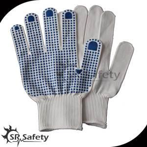 SRSafety PVC dotted cotton gloves,bleached white hand PVC dotted gloves