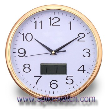 Plastic Plating Gold Frame Wall Clock Day Date Time