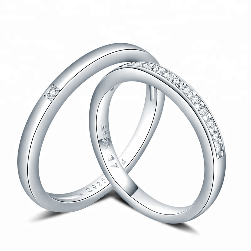 engagement wedding fashion white gold couple jewelry 925 sterling silver <strong>ring</strong>
