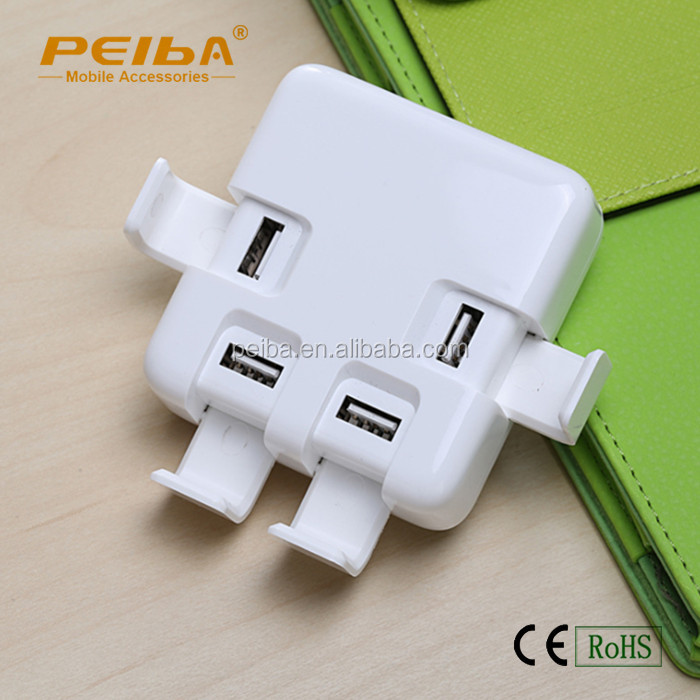 variety colors 4 USB Ports travel Charger Power Adapter with phone holder style adapter