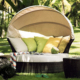 Waterproof Outdoor Round Rattan Lounge Daybed with Canopy