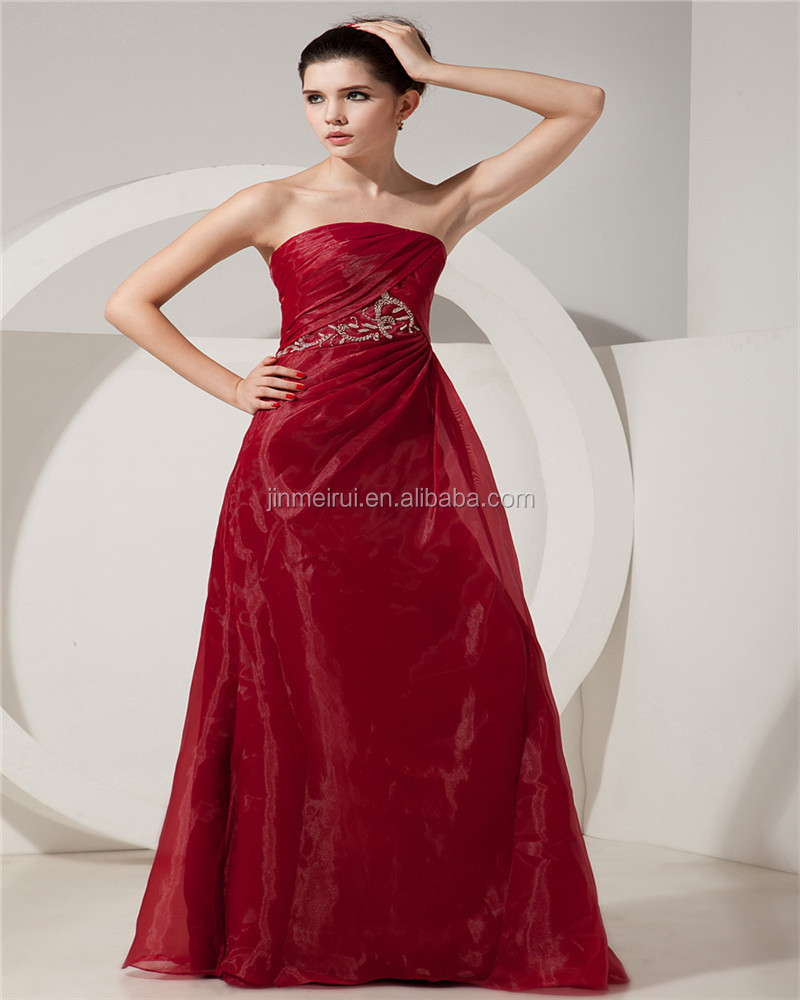 Red Charming Strapless Sleeveless Evening Gowns Floor Length Ruched Mother Of The Bride Dress With Jacket