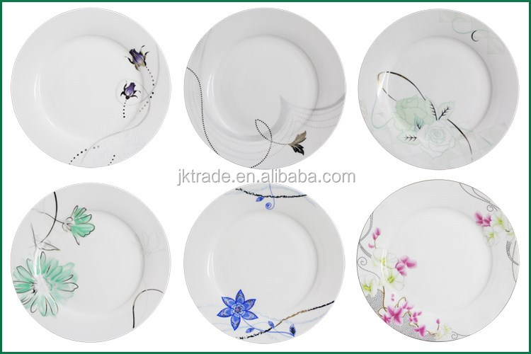 wholesale custom logo white porcelain plates/dinner plates with
