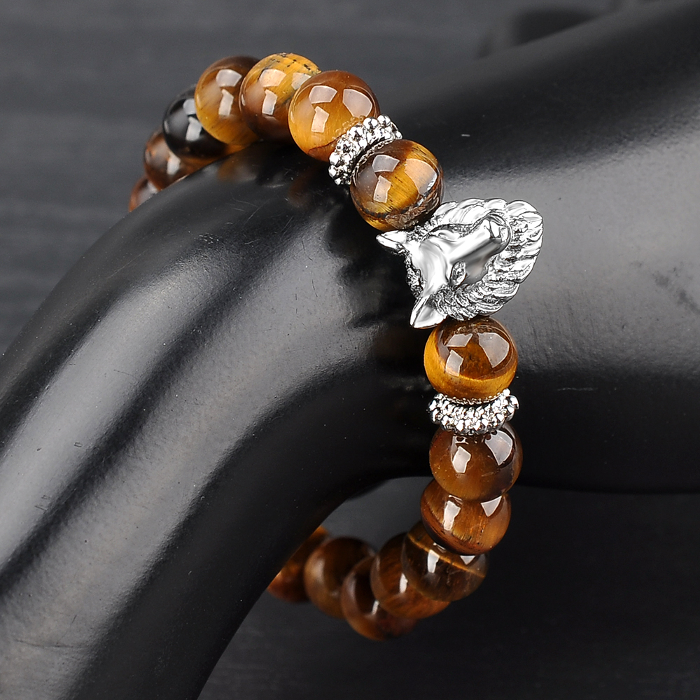 New Product Men Wolf Head Charm Natural Stone Bead Real Tiger Eye Bracelet
