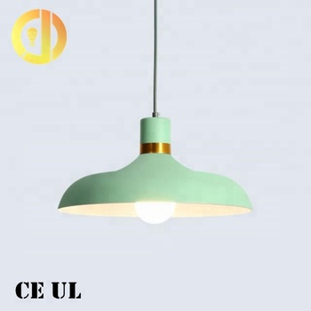 Colorful metal lamp shade round with E27 bulb hanging pendant light