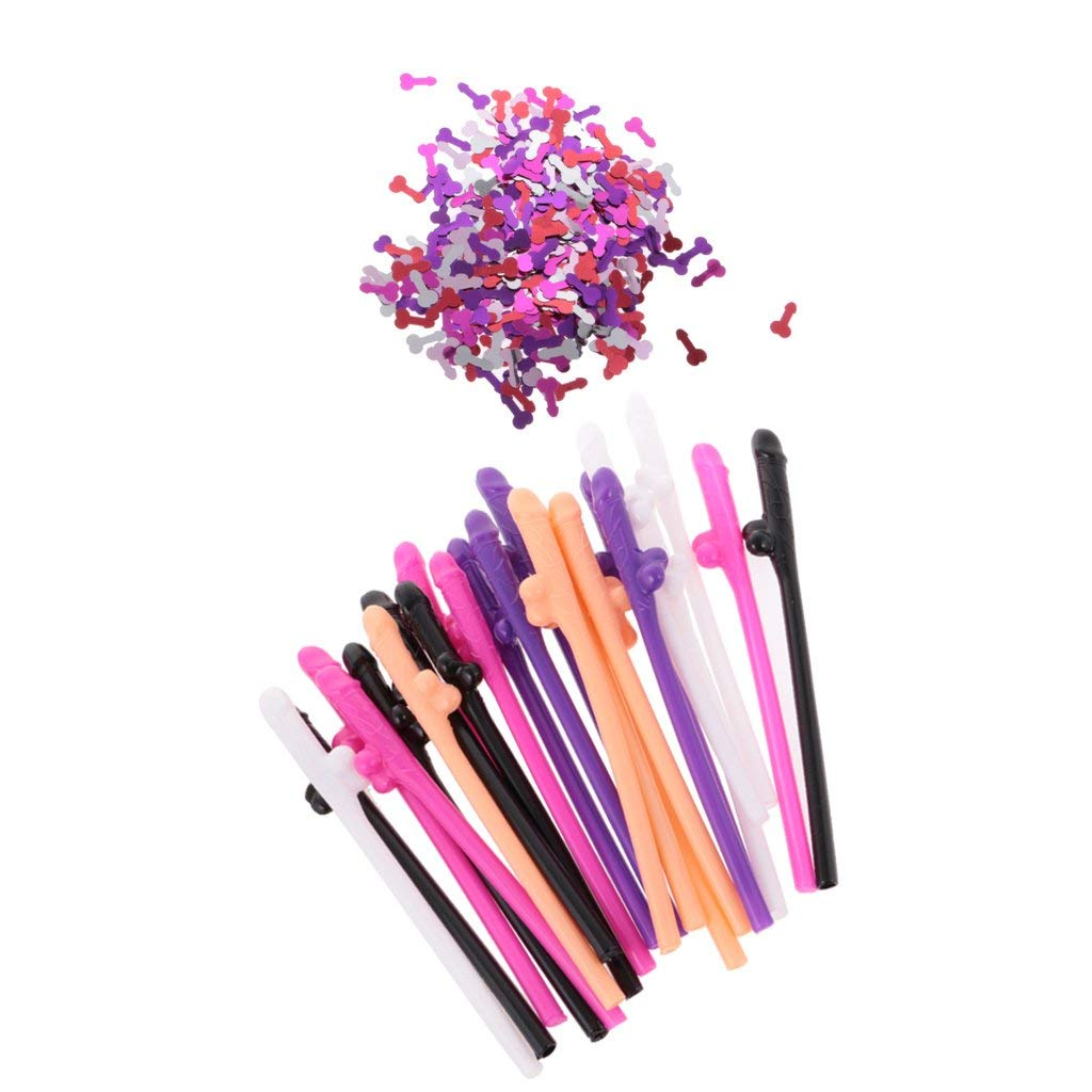 10 DICKY SIPPING DRINK STRAWS BACHELORETTE PARTY PLASTIC FAVOR WHITE NOVELTY GAG