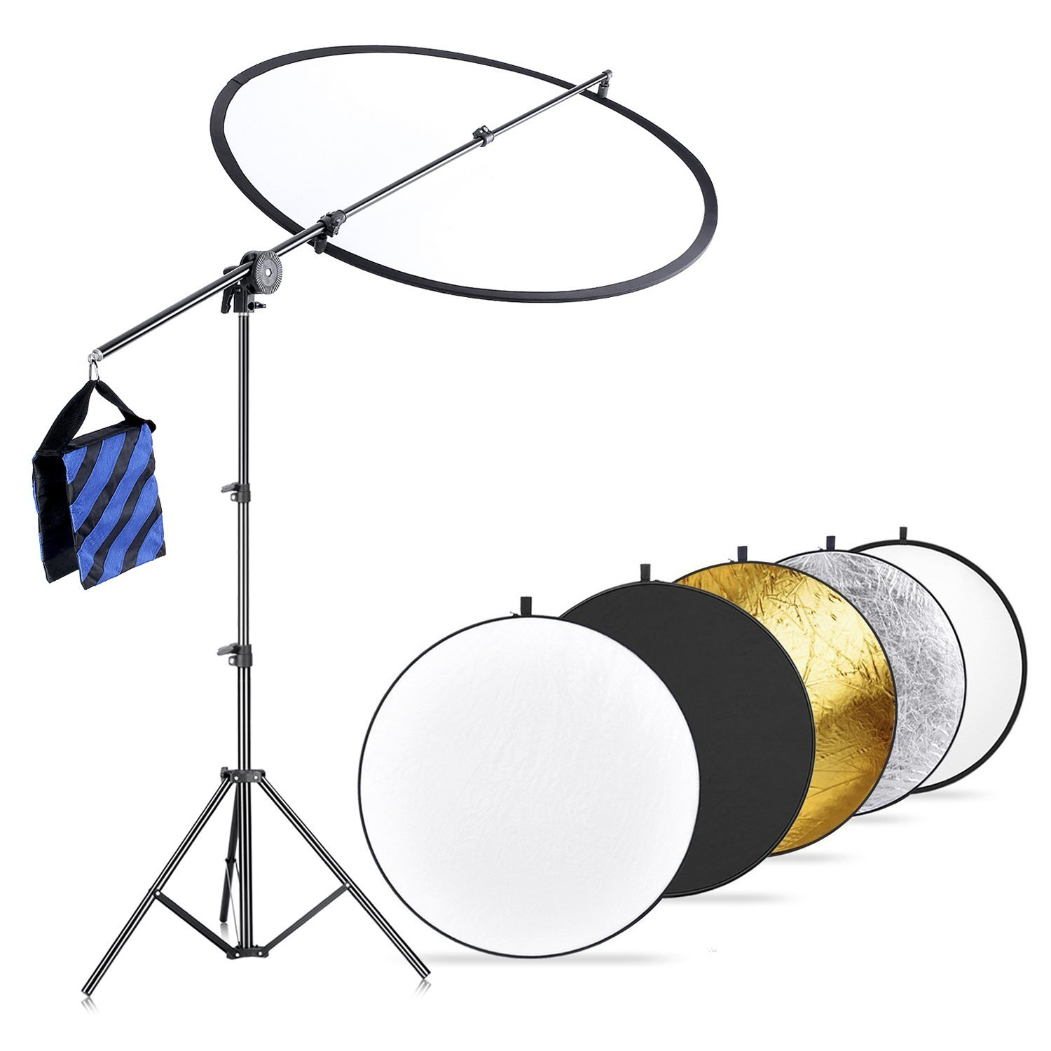 Neewer Photo Studio Lighting Reflector and Boom Arm Stand Kit: 23.6 inches/60 centimeters 5-in-1 Reflector, Holding Arm, 26-75 inches/66-190 centimeters Adjustable Light Stand, Blue/Black Sandbag