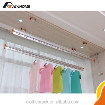 aluminum household manual lifting clothes drying rack ceiling