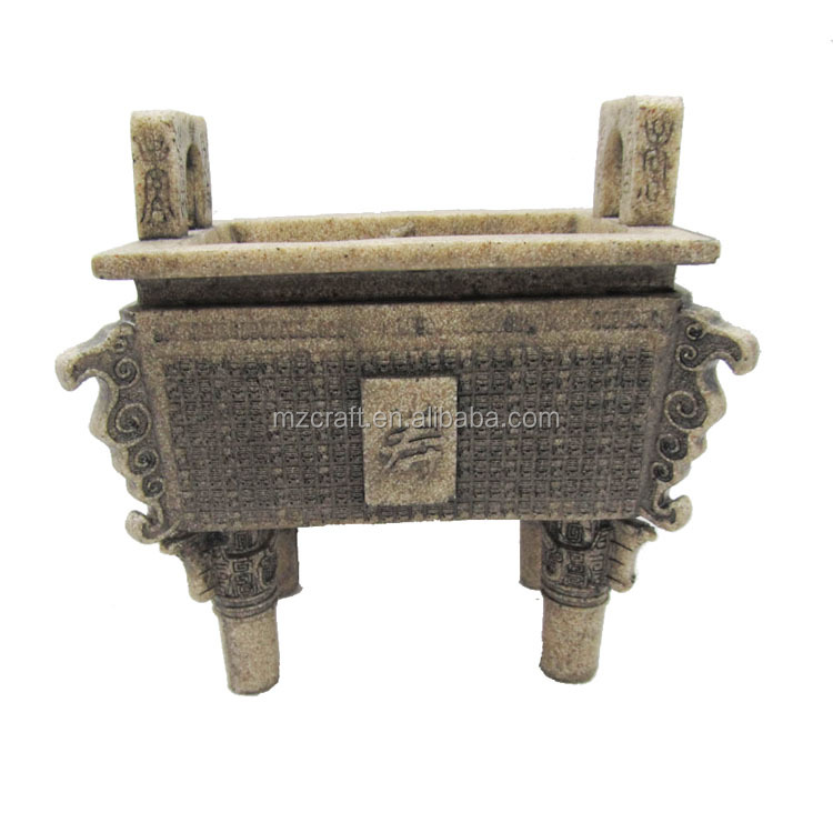 Chinese style sandstone incense burner resin crafts for garden office decoration wholesale 12269
