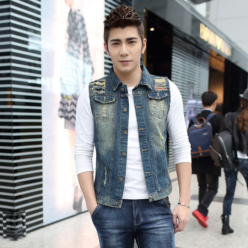 New Men's Denim Vest Brand Jeans Vest Men Cowboy Vest Denim ...