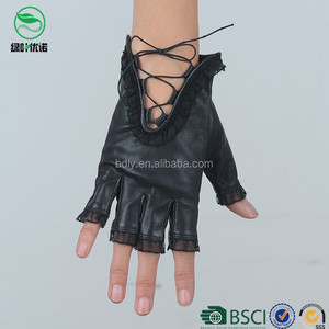 Women party dresses sexy half finger gloves lambskin leather mittens