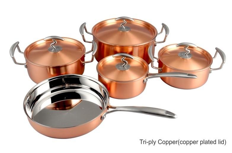 9 pcs de tres capas de cobre, 3-ply batería de cocina de cobre ...