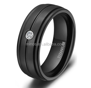 7mm Men's Black Titanium Ring Cz Grooved Brushed Comfort Fit Wedding Band