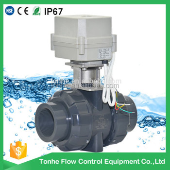 "OEM 2 way 1.5"" inch PVC valve AC110V-220V Normal closed DN40 motorized UPVC ball valve"