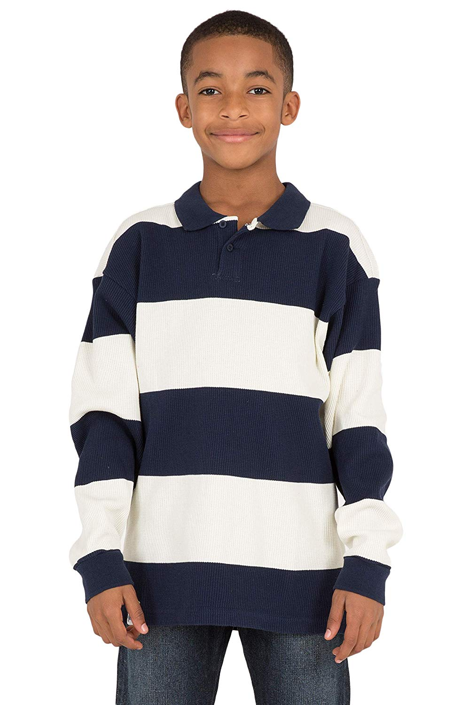 2c3bd4d92288 Get Quotations · Vibes Boy s Navy Blue Yarn Dye Stripe Heavy Thermal Long  Sleeve Polo Shirt
