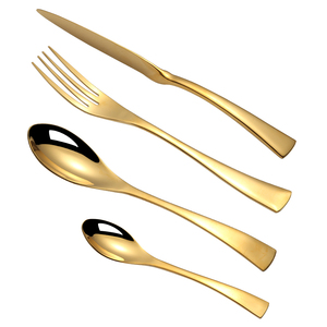 Jieyang shengde low MOQ a disposable gold tableware spoon and fork gift set of golden dinner cutlery