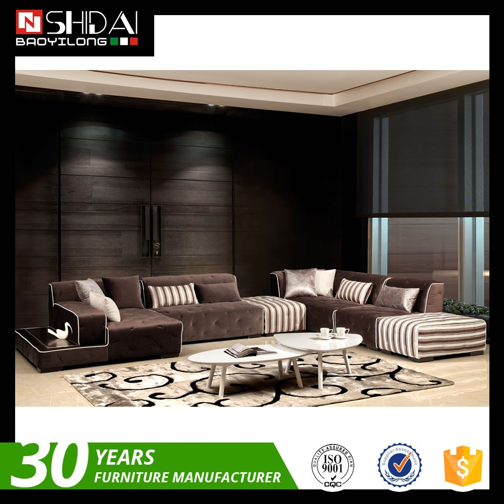 Modern Chocolate Brown Fabric Sectional Couch Sofa Ottoman Set ...