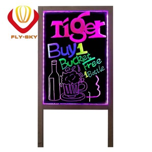 New electric technology wooden case led writing board with wood stand for shops advertising with CE & ROHS