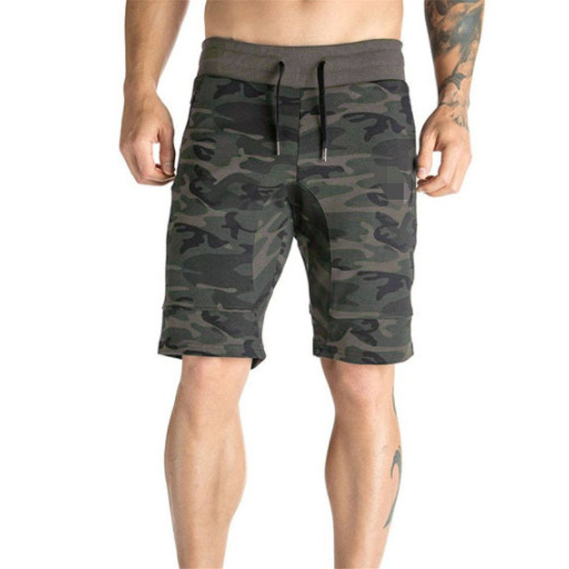 MOSE Short Pants For Men, Men's Summer Zipper Pocket Casual Elastic Muscle Fitness Camo Harem Training Jogger Thin Section Fashion Sport Short Pants New (Army Green, M)