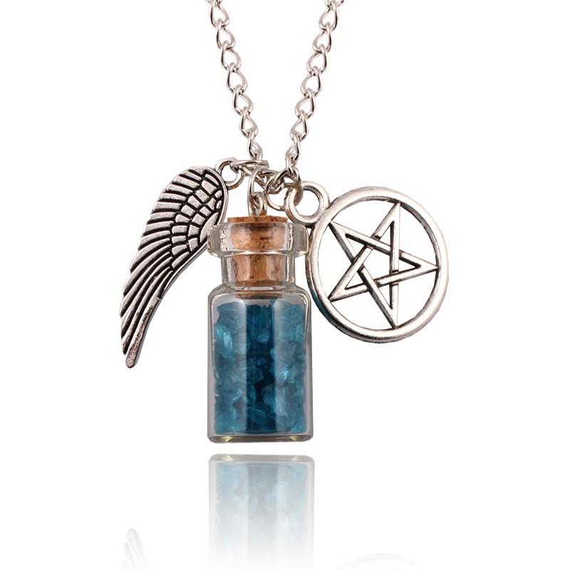 Hot Supernatural Protection Necklace Wing Pentagram Salt /& Burn Bottle Pendant