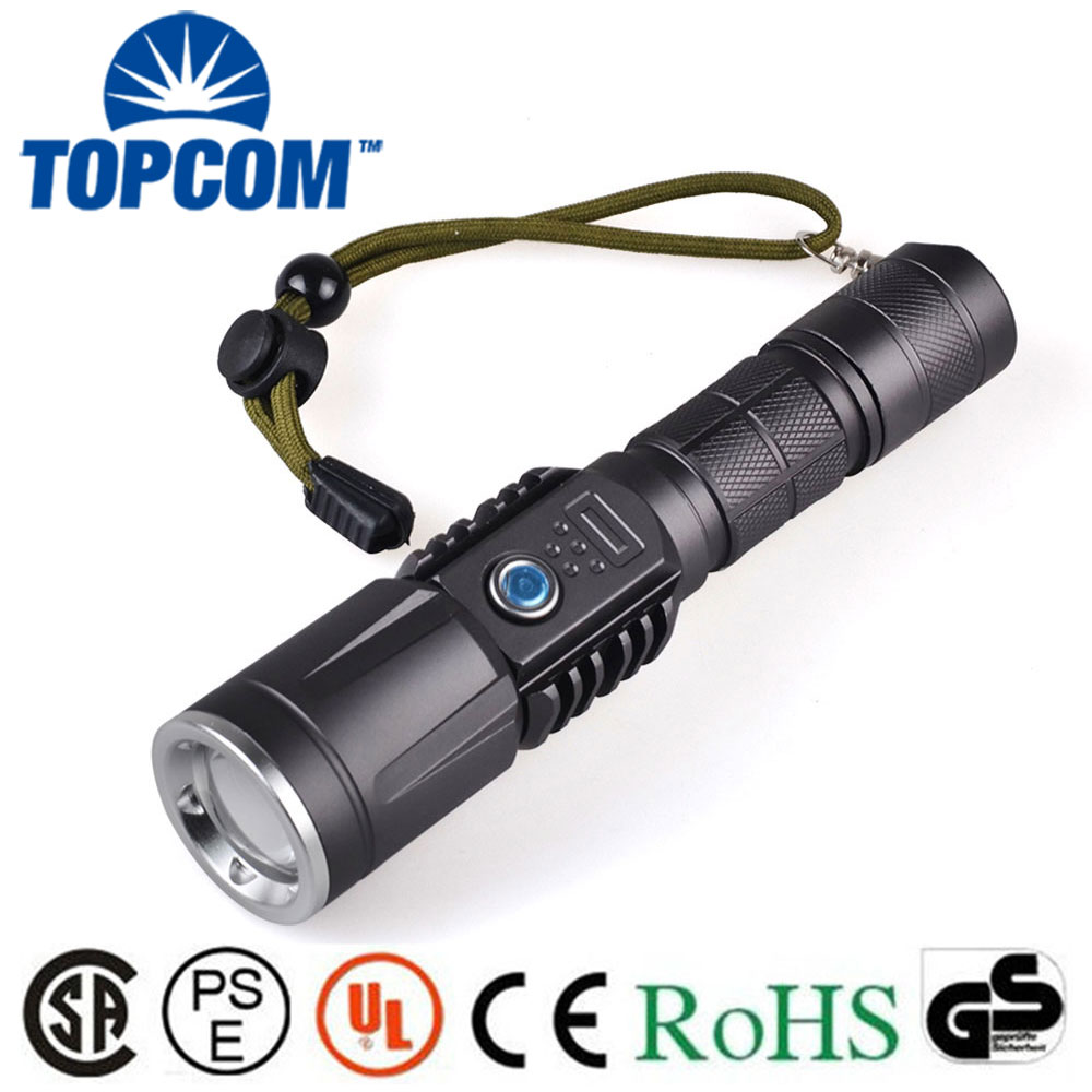 Rechargeable USB Phone Charger Flashlight XML2 U2 1300lm LED Power Bank Torch Light with USB Port