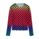 Turtleneck wholesale custom ladies longsleeve plaid t-shirt print design custom