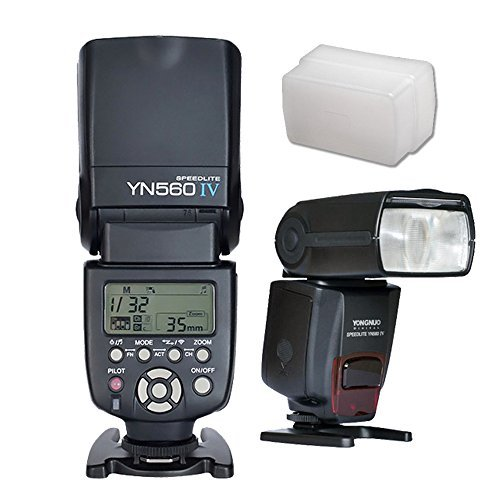 YONGNUO YN560 IV Wireless Flash Speedlite Master + Slave Flash + Built-in Trigger System for Canon Nikon Pentax Olympus Fujifilm Panasonic Digital Cameras + Soft Diffuser