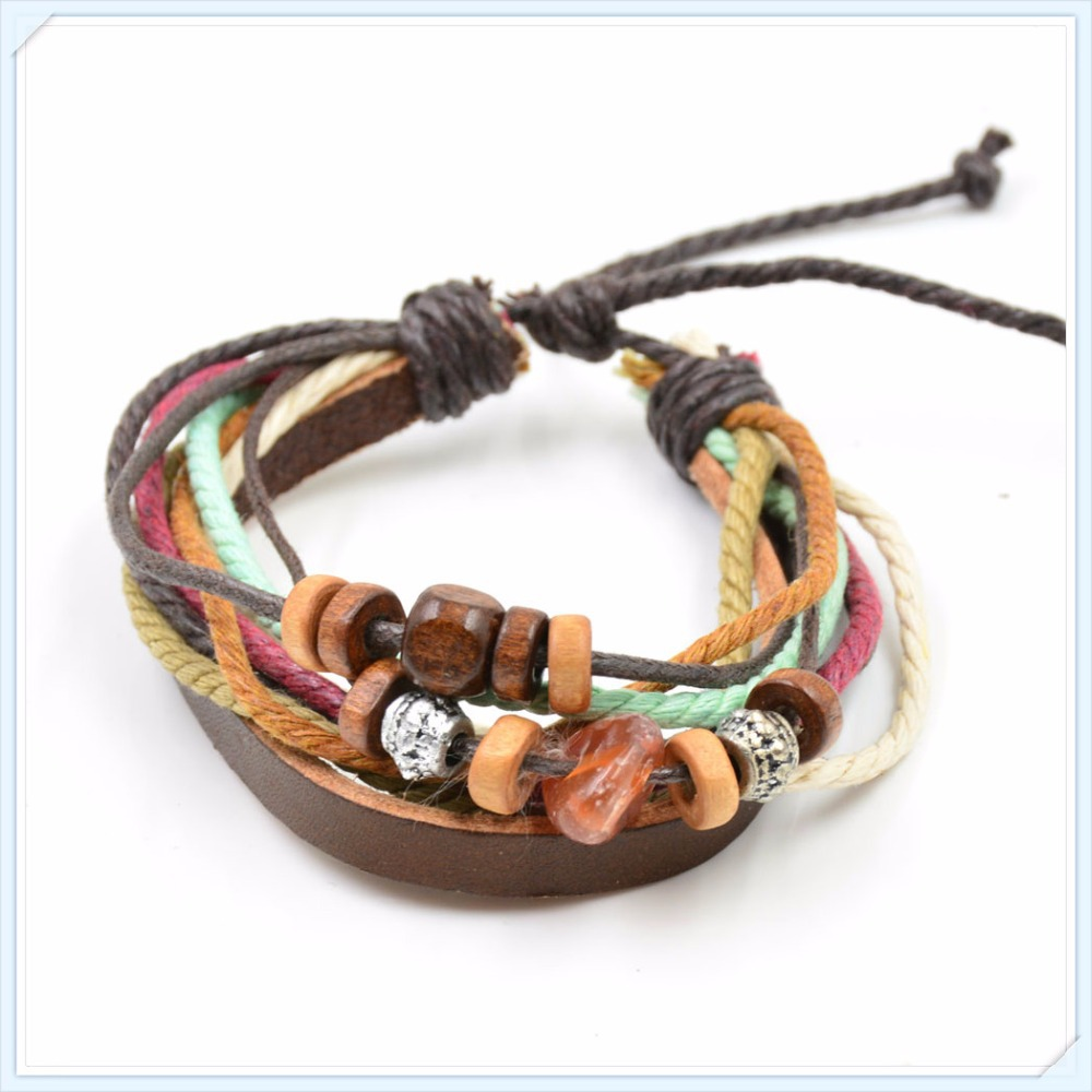 High Quality Mens and Women Bracelets Multilayer Genuine Leather Bracelet with Braided Rope Fashion Jewelry